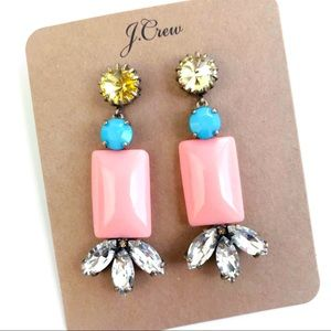 Jcrew pink gem statement earrings